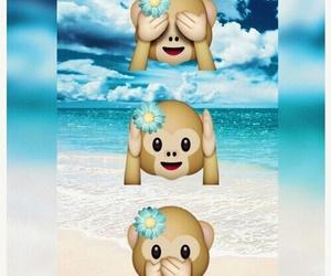emoji, monkey, and beach image