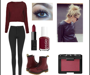autumn colors, dark red, and outfit image