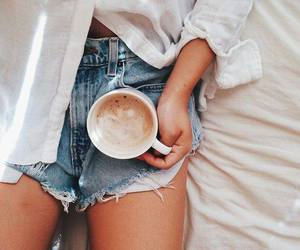 coffee, denim, and girl image
