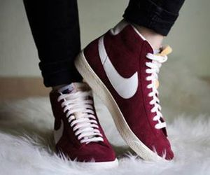 dark red, nike, and sneakers image