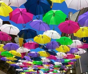 umbrella, colors, and street image
