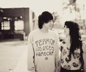 black and white, boy and girl, and drop dead image