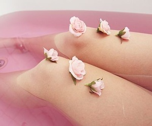 bath, flowers, and girls image