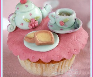 cupcake, pink, and tea image