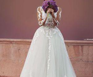 dress, bride, and wedding dress image