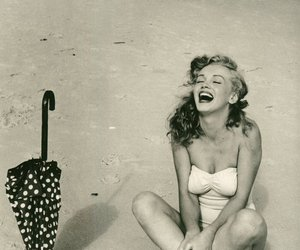 beach, laugh, and Marilyn Monroe image