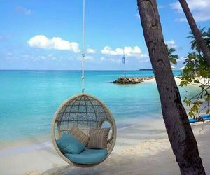beach, swing, and vacation image