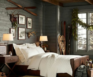 bedroom, cabin, and chalet image