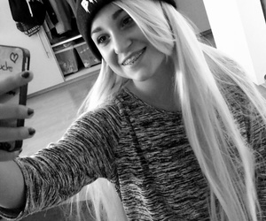 blond, blond hair, and black and white image