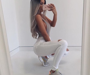 chic, hair, and sneakers image