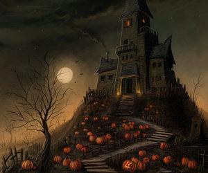 Halloween, pumpkin, and moon image