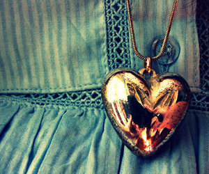 heart, necklace, and gold image