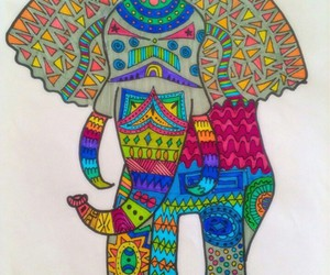 art, colors, and elephant image