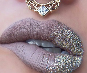 lips, makeup, and piercing image