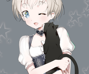 anime girl, cat, and gato image