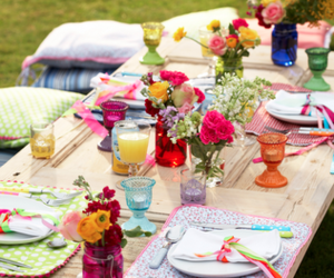 eat, table, and flowers image
