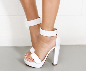 ankle strap, open toe, and straps image