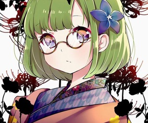 anime, flower, and glasses image