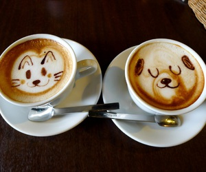 cat, dog, and coffee image