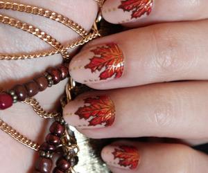 autumn colors, leaves, and nail polish image