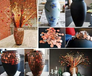 diy, coins, and vase image