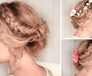 braid, chignon, and flowers image