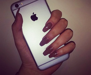brown, iphone, and nails image