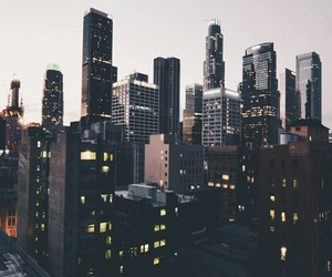 city, lights, and buildings image