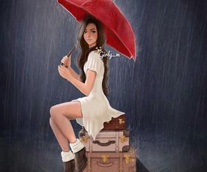 girly_m, rain, and drawing image