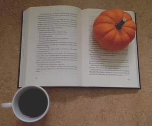 book, leaves, and pumpkin image