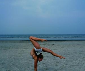 beach, gymnastics, and splits image