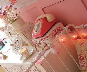 pink, room, and telephone image