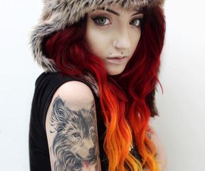 alternative, beautiful girl, and wolf image