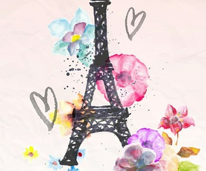 eiffel, flowers, and girl image
