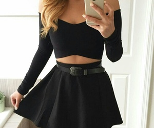 black, outfit, and skirt image