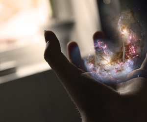 hand, galaxy, and photography image