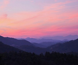 blue, mountains, and pink image