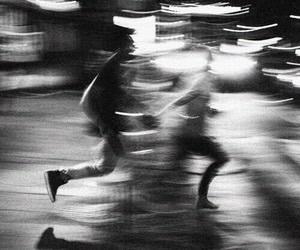 run, grunge, and black and white image