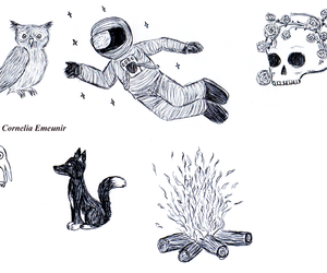 astronaut, doodle, and drawing image
