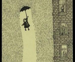 rain, umbrella, and drawing image