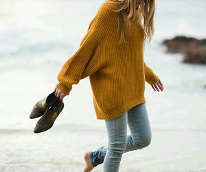 beach, outfit, and sweater image