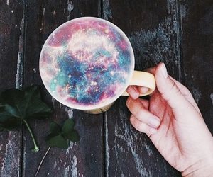 cup, galaxy, and coffee image