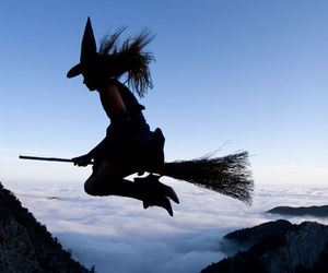 witch, black and white, and Halloween image