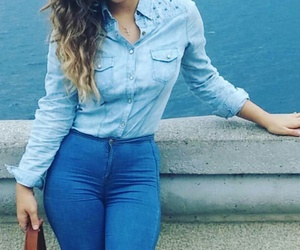 high waisted jeans, blonde ombre hair, and blue denim jeans image