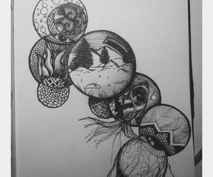 doodle, art, and circle image