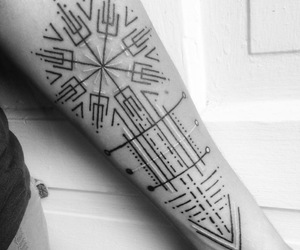 arm tattoo, art, and black and white image