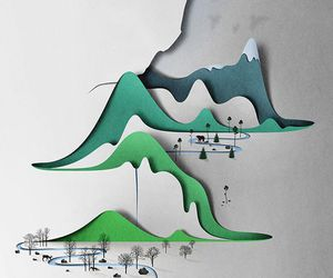 art, mountains, and Paper image
