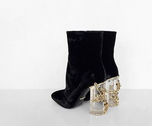 glass heel, black ankle boot, and boots with glass heel image