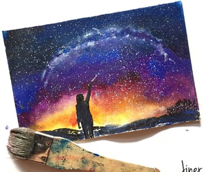 painting, shooting star, and starry sky image