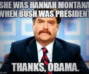 obama, hannah montana, and miley cyrus image